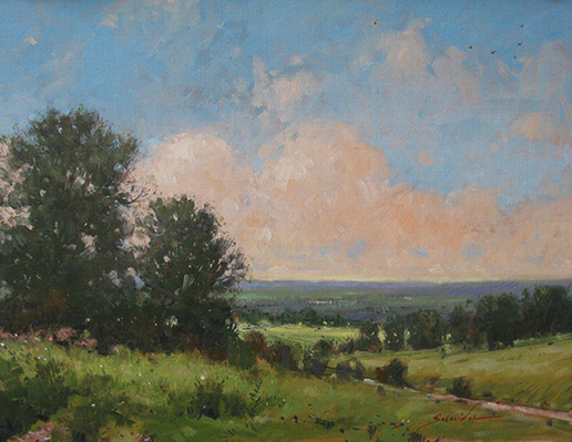 Robert Schneider, Mohawk Valley Vista, (2013). Oil on canvas. Collection of Mr. & Mrs. Leigh Goehring.