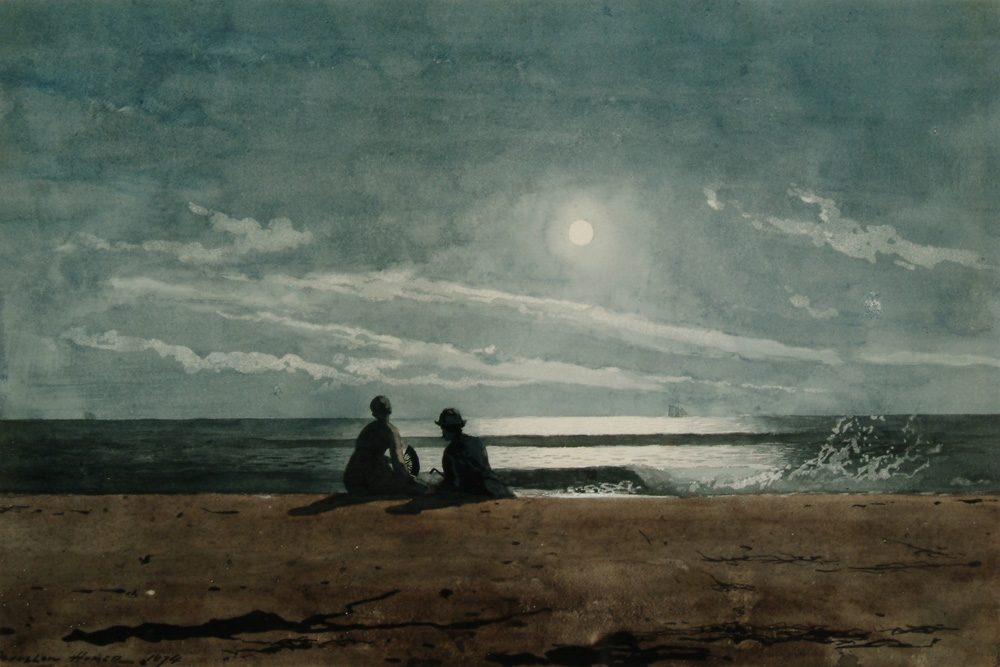 Winslow Homer, Moonlight (1874), Watercolor over graphite on handmade wove paper, Arkell Museum at Canajoharie, Gift of Bartlett Arkell, 1941