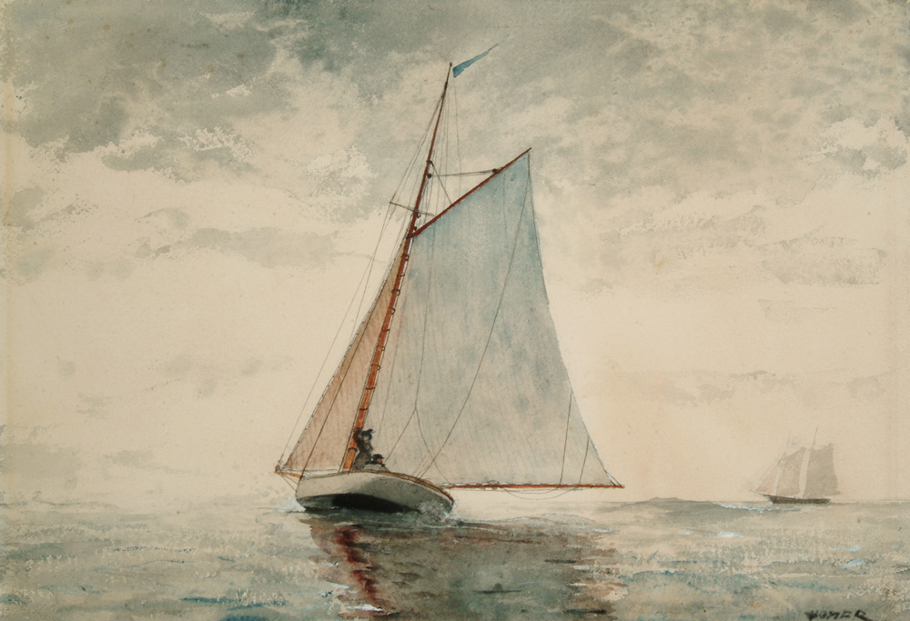 Winslow Homer, Sailing Out of Gloucester, (ca. 1880), Watercolor over graphite on wove paper, Arkell Museum at Canajoharie, Gift of Bartlett Arkell, 1940