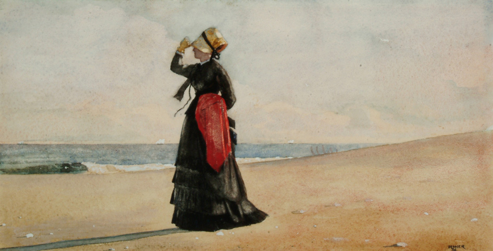 Winslow Homer, Woman on the Beach, Marshfield, (1874), Watercolor over graphite on wove paper, Arkell Museum at Canajoharie, Gift of Bartlett Arkell, 1941