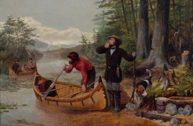 Arthur Fitzwilliam Tait (1819 – 1905) Going out: Deer Hunting in the Adirondacks, 1862. Oil on canvas. Gift of Harold K. Hochschild.