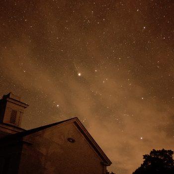 Night sky over church